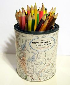 Map paint can... great idea for pencils or art supplies