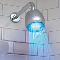 lighted shower head...blue means it's cold water and it turns to red when the water has warmed up to 89 degrees  google.com