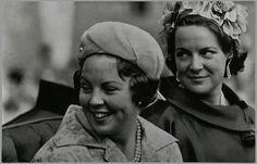 Princess Beatrix and Princess Irene  ride through Amsterdam, 1962.