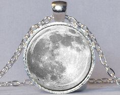 FULL MOON NECKLACE Full Moon Pendant Lunar Necklace Planet Jewelry Astronomy Pendant Science Jewelry Astronomer Gift White Gray