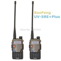 $ Number pc walkie talkie baofeng uv-5re + plus negro de doble banda radio de dos vías 136-174 y 400-520 mhz con envío gratis en moscú