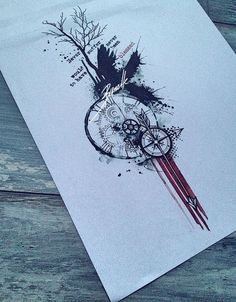tattoo quote tree bird compass clock raven arrow gear red trash polka