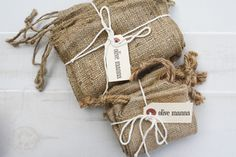 little burlap gift bags