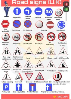 Road signs and road markings vocabulary with English words and pictures English Vocabulary Words, Learn English Words, English Lessons For Kids, English Language Learning, Teaching English, Road Sign Meanings, British Sign Language, Learning To Drive, Kindergarten Worksheets