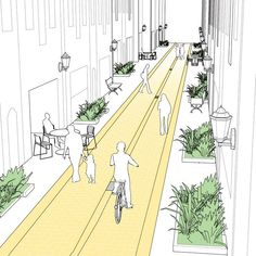 Commercial alleys, though often thought of as dirty or unsafe, can be designed t. - Commercial alleys, though often thought of as dirty or unsafe, can be designed to play an integral - Urban Design Concept, Urban Design Diagram, Urban Design Plan, Park Landscape, Urban Landscape, Landscape Design, Landscape Steps, Sustainable Architecture, Urban Architecture