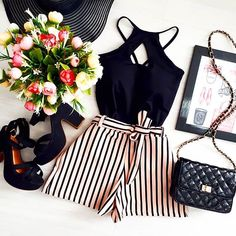 black and white outfit lovely flatlay fashion inspiration top and short Short Women Fashion, Tween Fashion, Boho Fashion, Fashion Looks, Fashion Outfits, Womens Fashion, Cheap Fashion, White Outfits, Trendy Outfits