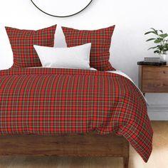 royal stewart tartan style 1 on Wyandotte by misstiina King Duvet, Queen Duvet, Lodge Bedroom, Royal Stewart Tartan, Plaid Bedding, Big Pillows, Red Flannel, Duvet Cover Design