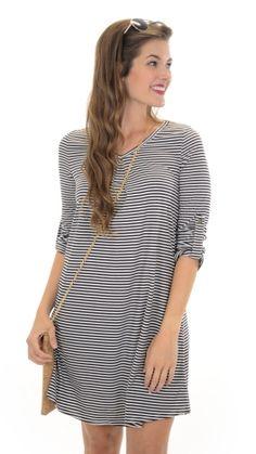 Tabbed Sleeve Stripe Dress