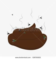 Turd on the ground. Piece of brown shit vector illustration. Dog excrement clean please. Flies around dog's pooing