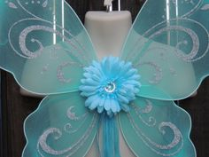 Pixie Fairy Light Blue Turquoise Butterfly Costume Wings Toddler Periwinkle