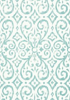 Patara Ikat #wallpaper in #aqua from the Caravan collection. #Thibaut