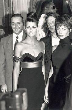 Gerald Marie, Linda Evangelista & Christy Turlington - Versace party (1990)