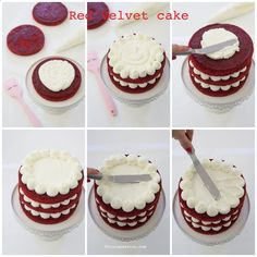 New Recipes Easy Cake Red Velvet Ideas Cupcake Recipes, Dessert Recipes, Bolo Red Velvet, Res Velvet Cake, Velvet Cupcakes, Bolos Naked Cake, Nake Cake, Cake Decorating Tips, Decorating Supplies