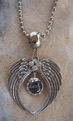 Rhinestone Angel Wing Faith Pendant Necklace by Nanettemc on Etsy, $16.00