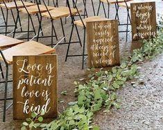 Set of 10 Wedding Aisle Signs 1 Corinthians 13 Wedding Signs | Etsy Wedding Pews, Wedding Isles, Rustic Wedding, Our Wedding, Wedding Arches, Wedding Ceremonies, Industrial Wedding, Wedding Favours, Wedding Reception