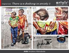 """Congratulations to Andrew Ntshabele who has sold an original artwork """"There is a shaking in Society 3"""" 2020 to a new collector based in New York, USA from our exhibition called """"I am because we are"""". Online Art, The Collector, Original Artwork, Congratulations, African, York, Baseball Cards, Usa, The Originals"""