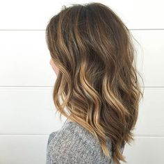 Rich Brown Lob with a pop of Honey Highlights