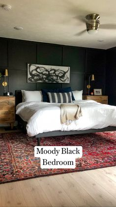 Small Room Bedroom, Master Bedroom Design, Home Bedroom, Tiny Bedrooms, Small Rooms, Black Bedroom Walls, Dark Cozy Bedroom, Dark Master Bedroom, Black Bedroom Design