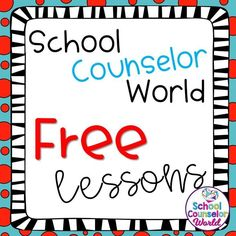 Free lessons from School Counselor World School Counselor Lessons, Middle School Counseling, Elementary School Counselor, School Social Work, Elementary Schools, Public School, Counseling Activities, Counseling Worksheets, Group Activities