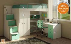 Furniture: (Code bed-marinera-con-escritorio – AGIO … - Home Decor ideas Small Room Bedroom, Small Rooms, Kids Bedroom, Bedroom Decor, Dream Rooms, Dream Bedroom, Chambre Nolan, Loft Bed Plans, Bed In Closet