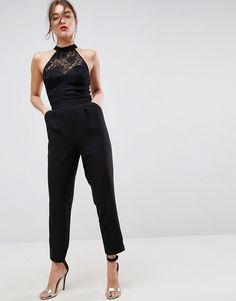 ASOS Lace Top Jumpsuit with Halter Neck - Black