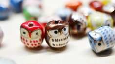 10 Pcs Porcelain Owl Beads Mixed Color Hand by iamsuperman11, $4.99