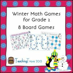 Eight math games covering addition, subtraction, time and fractions are included in this pack - all with a winter theme