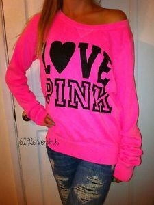victory sercet love pink | NWD*VICTORIA& 039;S SECRET LOVE PINK NEON PINK CREW SWEATSHIRT OFF THE ...
