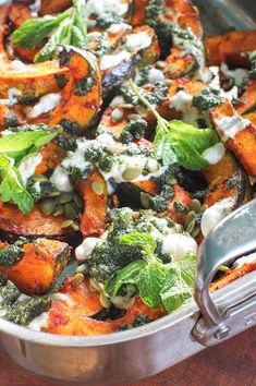 My Paleo Marin : Roasted Winter Squash w/ Rose Harissa, Mint Sauce, Pumpkin Seeds and Non-Dairy Yogurt Winter Meals, Winter Food, Rose Harissa, Simple Cookbook, Mint Sauce, Ottolenghi, Middle Eastern Recipes, Ih, Flourish