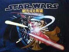 Rad Anime Style Star Wars T Shirt Blue New OBI Wan vs Darth Vader Lucas   eBay