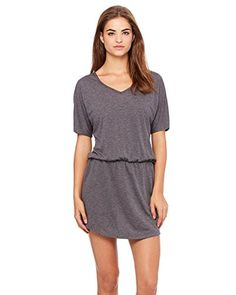 Clementine 616404597192 Womens Flowy VNeck Dress Dark Grey Heather  2X Large -- To view further for this item, visit the image link.