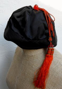 Vintage Black Satin Chinese Hat with Beads and by ShopGlammasAttic 9273a1ccd880