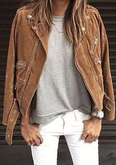 suede jacket. wear with light wash jeans instead