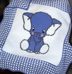 "CROCHET Pattern  Baby Blanket Pattern  Elephant  by PatternWorldUK ~ approx. 36"" square ~ CROCHET ~ love the ""gingham-llok"" of the border"