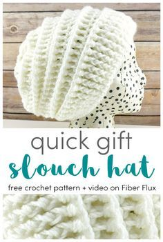 Quick Gift Slouch Hat 12 Weeks of Gifting Series Free Crochet Pattern Video on Fiber Flux # Crochet Crafts, Crochet Projects, Free Crochet, Knit Crochet, Crocheted Hats, Fun Projects, Quick Crochet Patterns, Easy Crochet Hat, Crochet Coaster