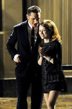 Tom Hardy and Emily Browning as Reggie Kray and Frances Shea in Legend.