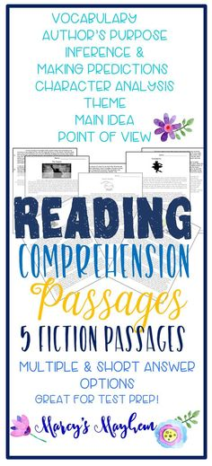 Do your third grade, fourth and fifth grade students comprehend what they are reading? It is hard to know if what you students have comprehension when they read. You can challenge your readers with these original comprehension passages written by me. Passage Writing, Reading Passages, Teaching Reading, Teaching Ideas, Fluency Practice, Reading Comprehension Strategies, Text Evidence, 5th Grade Reading, Authors Purpose