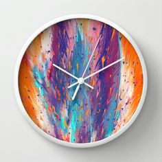 Colorful Fire Wall Clock by Danny Ivan - $30.00