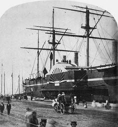 """🇺🇸 🇬🇧 SS """"Great Eastern"""" in New York Harbor, 1860 - probably """"at a pier on the Hudson River between West and Streets"""", her usual New York berth. Merchant Navy, Merchant Marine, Isambard Kingdom Brunel, Steam Boats, New York Harbor, Paddle Boat, Naval History, Tall Ships, Water Crafts"""