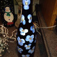 Blue flowers bottle