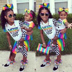 Black Kids Fashion, Cute Kids Fashion, Little Girl Fashion, Toddler Fashion, Cute Little Girls Outfits, Cute Swag Outfits, Kids Outfits Girls, Little Girl Swag, Cute Mixed Babies