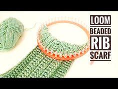 fabric crafts boho How to Loom Knit a Beaded Rib Stitch Scarf / Cowl (DIY Tutorial) - Round Loom Knitting, Loom Scarf, Loom Knitting Stitches, Knifty Knitter, Loom Knitting Projects, Knitting Videos, Knitting For Beginners, Knitting Tutorials, Knitting Machine