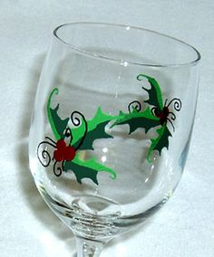 Christmas Holly Wine Glass Hand Painted by ConniesCreations2010, $10.00