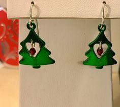Christmas Tree Earrings, Holiday Earrings, Earrings, Tree Earrings, Green Earrings, Jewelry, Jewellery, Festive Earrings, Gifts For by Dzdjewelry on Etsy