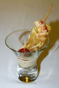 Piruleta de gambón con mayonesa de soja y wasabi
