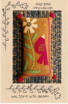 Primitive Folk Art Quilt Pattern  Red Bird by PrimitiveQuilting, $9.00