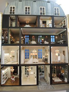 doll houses Paris Shop, Cross Section -- Mulvany and Rogers Dollhouse Design, Diy Dollhouse, Dollhouse Miniatures, Mini Doll House, Barbie Doll House, Dolls House Shop, Miniature Rooms, Miniature Houses, Doll Furniture