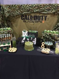 Check out this awesome Military themed Call of duty Birthday Party! The dessert table is so cool!! See more party ideas and share yours at CatchMyParty.com