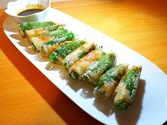 Asparagus, Zucchini, Sushi, Side Dishes, Food And Drink, Appetizers, Yummy Food, Japanese, Vegetables