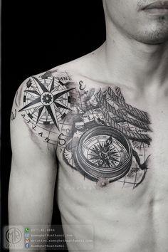 Hình Xăm Đẹp | Nice Tattoos - Mr.Tattoo Compass Tattoo, Nice, Tattoos, Tatuajes, Tattoo, Nice France, Tattos, Tattoo Designs